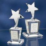 Chrome Stars with Crystal Bases Patriotic Awards